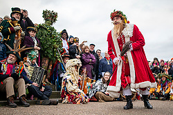 © Licensed to London News Pictures. 05/01/2020. London, UK. Performers mark Twelfth Night, an annual celebration the New Year, on Bankside in London. Photo credit: Rob Pinney/LNP