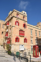 Hotel in Valetta over looking the Marina with red phone box