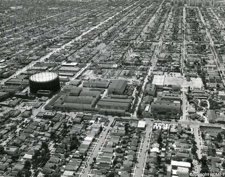 1954 Aerial photo of Eagle Lion Studios on Santa Monica Blvd.