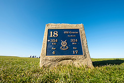 Tee box on 18th Hole, Tom Morris, on  Old Course in St Andrews, Fife, Scotland, UK.