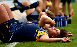 Buster Lawrence of Worcester Warriors cuts a dejected figure after losing to Gloucester Rugby - Mandatory by-line: Robbie Stephenson/JMP - 29/07/2017 - RUGBY - Franklin's Gardens - Northampton, England - Worcester Warriors v Gloucester Rugby - Singha Premiership Rugby 7s