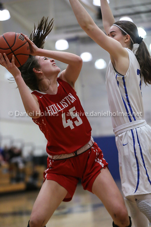 (1/10/20, ASHLAND, MA) Holliston's Summer O'Neill tries for the layup during the girls basketball game against Ashland at Ashland High School on Friday. [Daily News and Wicked Local Photo/Dan Holmes]