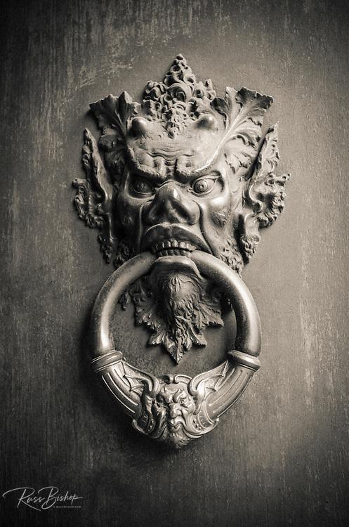 Door knocker detail, Florence, Tuscany, Italy