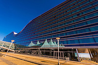 Westin Denver International Airport Hotel, Denver, Colorado USA. The curved roof mimics the concave shape of the Jeppesen Terminal tents adjacent.