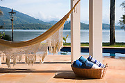 Private home in Parati Brazil. View of the sea with a hammock in the foreground.