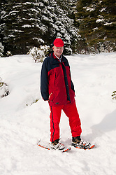 California, Lake Tahoe: Man on snowshoes author photographer Lee Foster at North Lake Tahoe Regional Park.  Photo copyright Lee Foster.  Photo # cataho107612