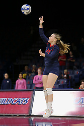 October 7, 2018 - Tucson, AZ, U.S. - TUCSON, AZ - OCTOBER 07: Arizona Wildcats libero / defensive specialist Makenna Martin (22) serves the ball during a college volleyball game between the Arizona Wildcats and the Washington State Cougars on October 07, 2018, at McKale Center in Tucson, AZ. Washington State defeated Arizona 3-2. (Photo by Jacob Snow/Icon Sportswire) (Credit Image: © Jacob Snow/Icon SMI via ZUMA Press)