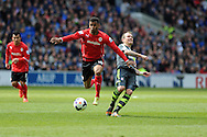 Cardiff city's Fraizer Campbell makes a break. Barclays Premier league match, Cardiff city  v Stoke city at the Cardiff city stadium in Cardiff, South Wales on Saturday 19th April 2014. pic by Andrew Orchard, Andrew Orchard sports photography,