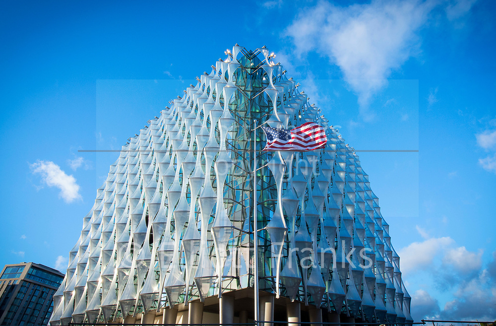 """The new Embassy of the United States of America<br /> 33 Nine Elms Lane, London, Great Britain <br /> 15th January 2018 <br /> <br /> The United States has built a new Embassy in London   In 2008 they announced the purchase of the site in the Nine Elms area of Wandsworth, and set out to produce a modern, welcoming, safe and energy efficient embassy for the 21st century.<br /> <br /> Regarding the move, Ambassador Robert Tuttle, who led the search for a new site, said: """"We looked at all our options, including renovation of our current building on Grosvenor Square. In the end, we realized that the goal of a modern, secure and environmentally sustainable Embassy could best be met by constructing a new facility.""""<br /> <br /> The design was opened up to competition to ensure the new facility reflects the best of modern design, incorporates the latest in energy-efficient building techniques, and celebrates the values of freedom and democracy.<br /> <br /> When announcing the winning design by Philadelphia-based architects KieranTimberlake, Ambassador Susman said """"We hope to contribute to the architectural heritage and future history of this great city. We will be, now and in the future, a vital contributor and a good citizen in the community of our new home.""""<br /> <br /> <br /> Photograph by Elliott Franks"""