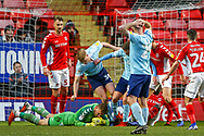 Accrington Stanley defender Liam Gibson (33) in a goal mouth scramble during the EFL Sky Bet League 1 match between Charlton Athletic and Accrington Stanley at The Valley, London, England on 19 January 2019.