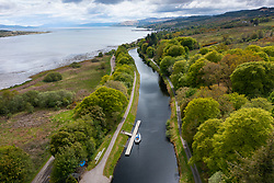 Aerial view from drone of Crinan Canal at Lochgilphead in Argyll & Bute in Scotland , UK