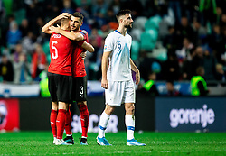 Stefan Posch of Austria and Aleksandar Dragovic of Austria celebrate after winning during the 2020 UEFA European Championships group G qualifying match between Slovenia and Austria at SRC Stozice on October 13, 2019 in Ljubljana, Slovenia. Photo by Vid Ponikvar / Sportida