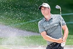 May 4, 2019 - Charlotte, NC, U.S. - CHARLOTTE, NC - MAY 04:  Aaron Wise hits from the trap on the 3rd hole during the third round of the Wells Fargo Championship at Quail Hollow on May 4, 2019 in Charlotte, NC. (Photo by William Howard/Icon Sportswire) (Credit Image: © William Howard/Icon SMI via ZUMA Press)