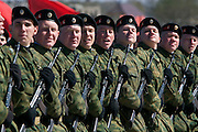 Albina, Russia, 22/04/2008..Russian soldiers practice for the forthcoming 63rd Victory Day celebrations on May 9, marking the end of the Second World War, referred to in Russia as the Great Patriotic War.