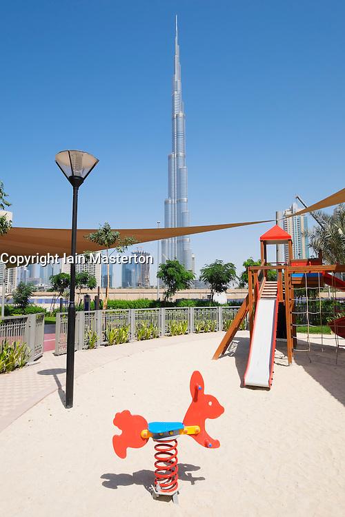 Burj Khalifa tower seen from childrens' play park in Dubai United Arab Emirates
