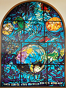 The Tribe of Simeon. The Twelve Tribes of Israel depicted in stained glass By Marc Chagall (1887 - 1985). The Twelve Tribes are Reuben, Simeon, Levi, Judah, Issachar, Zebulun, Dan, Gad, Naphtali, Asher, Joseph, and Benjamin.