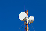 microwave parabolic dish antenna radio link on red and white lattice tower in Capella, Queensland, Australia <br /> <br /> Editions:- Open Edition Print / Stock Image