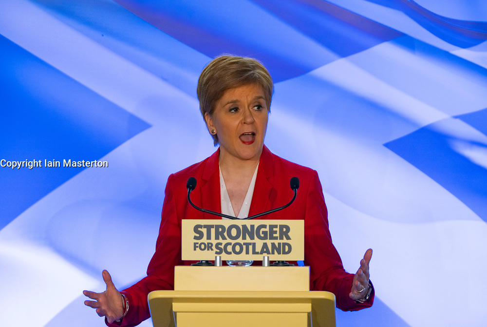 """Dundee, Scotland, UK. 20th November 2019. Nicola Sturgeon makes a keynote election speech in Dundee on the Tory threat to Scotland's services - warning Westminster is set to be """"engulfed by Brexit chaos for years to come"""" underlining the urgent need for Scotland to be able to choose a better future with independence. Iain Masterton/Alamy Live News."""