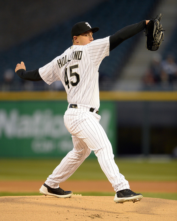 CHICAGO - APRIL 07:  Derek Holland #45 of the Chicago White Sox pitches against the Minnesota Twins on April 7, 2017 at Guaranteed Rate Field in Chicago, Illinois.    (Photo by Ron Vesely)   Subject:  Derek Holland