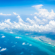 Aerial view of the caribbean border between Mexico and Belize.