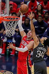 May 6, 2018 - New Orleans, LA, U.S. - NEW ORLEANS, LA - MAY 06: New Orleans Pelicans forward Nikola Mirotic (3) shoots a jump shot against Golden State Warriors guard Shaun Livingston (34) during game 4 of the NBA Western Conference Semifinals at Smoothie King Center in New Orleans, LA on May 06, 2018.  (Photo by Stephen Lew/Icon Sportswire) (Credit Image: © Stephen Lew/Icon SMI via ZUMA Press)