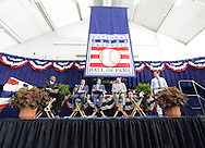 COOPERSTOWN, NY - JULY 27:  2014 Baseball Hall of Famer inductees (from left to right) Frank Thomas, Tony LaRussa and Bobby Cox meet the media following the 2014 HOF induction ceremonies held at the Clark Sports Center in Cooperstown, New York on July 27 2014.