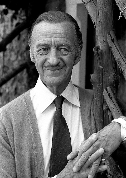 British actor David Niven photographed at Pinewood Film Studios in 1976. Photographed by Terry Fincher