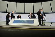 Televisive debate between Mariano Rajoy and Alfredo Perez Rubalcaba.Finishing touches before the start of the transmission.