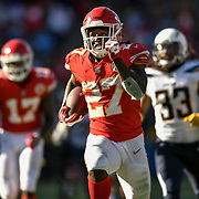 Kansas City Chiefs running back Kareem Hunt (27) ran for a 69-yard touchdown in the fourth quarter against the Los Angeles Chargers on September 24, 2017 at StubHub Center in Carson, CA. Hunt finished with 172 rushing yards on 17 carries.