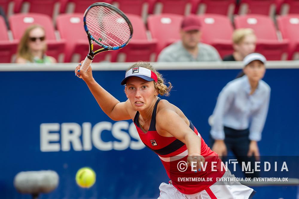 Elise Mertens (Belgium) at the 2017 WTA Ericsson Open in Båstad, Sweden, July 27, 2017. Photo Credit: Katja Boll/EVENTMEDIA.