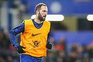 Chelsea forward Gonzalo Higuain (9) warms up prior to the The FA Cup fourth round match between Chelsea and Sheffield Wednesday at Stamford Bridge, London, England on 27 January 2019.
