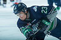KELOWNA, CANADA - APRIL 25: Luke Ormsby #23 of the Seattle Thunderbirds warms up against the Kelowna Rockets on April 25, 2017 at Prospera Place in Kelowna, British Columbia, Canada.  (Photo by Marissa Baecker/Shoot the Breeze)  *** Local Caption ***