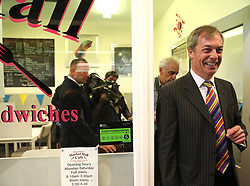 Brexit Party leader Nigel Farage meeting the locals during his walkabout in Pontefract town centre, West Yorkshire, while on the European Election campaign trail. Picture dated: Monday May 13, 2019. Photo credit should read: Isabel Infantes / EMPICS Entertainment.
