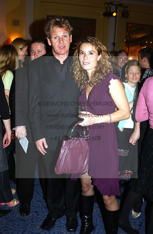 Top chef GORDON RAMSAY and his wife TANA at the Harpers & Queen and Moet & Chandon Restaurant Awards for 2004 held at Claridges, Brook Street, London on 1st November 2004.<br /><br />NON EXCLUSIVE - WORLD RIGHTS