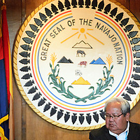 012714  Adron Gardner/Independent<br /> <br /> Navajo Nation Tribal Council Speaker of the House Johnny Naize is dwarfed by the Great Seal of The Navajo Nation during day one of the winter council session in Window Rock Monday.
