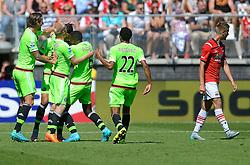 09-08-2015 NED: AZ - Ajax, Alkmaar<br /> Ajax verslaat AZ vrij eenvoudig met 3-0 / Anwar El Ghazi #21 scoort de 1-0 en viert dit ,et Davy Klaassen #10, Riechedly Bazoer #6, Jairo Riedewald #22. Rechts Markus Henriksen NOO #10,