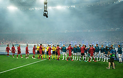 Players prior to the UEFA Champions League final football match between Liverpool and Real Madrid at the Olympic Stadium in Kiev, Ukraine on May 26, 2018.Photo by Sandi Fiser / Sportida