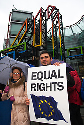 London, February 22nd. A small group of Romanian expatriates living in London protest against Channel 4's programme Here Come the Romanians, which shows the trials and tribulations of poverty-stricken Romanian Gypsies immigrating to the UK to seek work and get onto the British benefits system. They say the programme  exacerbates the anti-immigrant stereotype of Romanians, ignoring the many highly qualified, professionals and hard-working skilled workers contibuting to the UK's economy and its taxes.