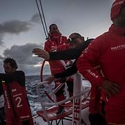 Leg 3, Cape Town to Melbourne, day 15, Xabi Fernandez, Joan Vila, Blair Tuke, Pablo Arrarte on board MAPFRE. Photo by Jen Edney/Volvo Ocean Race. 24 December, 2017.