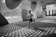 August 2005<br /> Brugge, Belgium<br /> Girl playing in the pavillion Toyo Ito<br /> <br /> REPORTERS©Christophe Vander Eecken