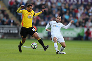Etienne Capoue of Watford (l) is challenged by Leon Britton of Swansea city. Premier league match, Swansea city v Watford at the Liberty Stadium in Swansea, South Wales on Saturday 22nd October 2016.<br /> pic by  Andrew Orchard, Andrew Orchard sports photography.