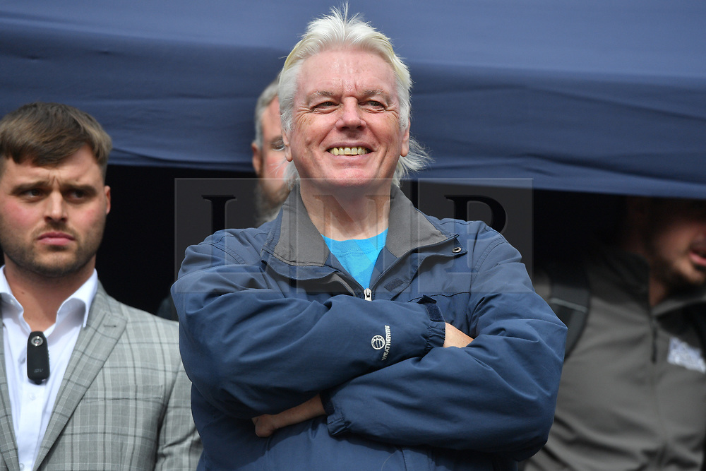 © Licensed to London News Pictures. 26/09/2020. London, UK. David Icke take part in an anti-mask wearing demonstration in Trafalgar Square. The demonstrators are against the government laws of lockdown during the Covid-19 pandemic and the effects of the virus. Photo credit: London News Pictures