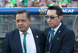 July 23, 2017 - Pasadena, California, U.S - Coach, Luis Pompilio Paez of Mexico and goalie coach Nestor Mario Marin Marulanda during their game with Jamaica in the Gold Cup Semifinal game at the Rose Bowl in Pasadena, California on Sunday July 23, 2017. Jamaica defeats Mexico, 1-0. (Credit Image: © Prensa Internacional via ZUMA Wire)