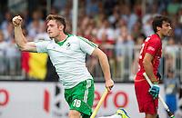 ANTWERP -    Shane O'Donoghue has scored during  the hockeymatch   Belgium vs Ireland . right Simon Gougnard of Belgium .   WSP COPYRIGHT KOEN SUYK