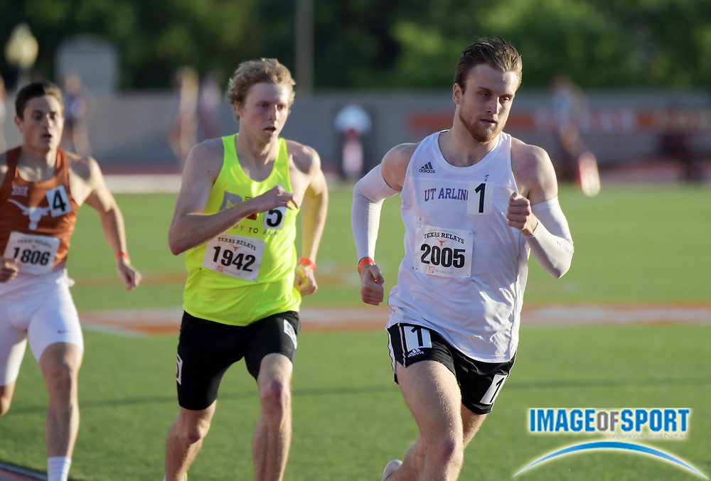 Mar 29, 2018; Austin, TX, USA; Erik Martinsson of UT Arlington wins 800m heat in 1:49.21 during the 91st Clyde Littlefield Texas Relays at Mike A. Myers Stadium.