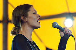 © Licensed to London News Pictures. 30/05/2016. Hay-on-Wye, Powys, Wales, UK. Fast rising star singer Rosie Lowe, championed by Sir Elton John, performs at The Hat venue at The Riverside festival site on the fifth day of 'HowTheLightGetsIn' Festival of Ideas - The philosophy and music festival at Hay-on-Wye, Wales, UK. HowTheLightGetsIn festival was founded by post-realist philosopher and director of the Institute of Art and Ideas, Hilary Lawson. Photo credit: Graham M. Lawrence/LNP
