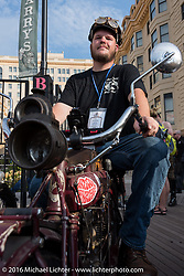 Alex Trepanier (L) of California on his 1913 Indian on the Atlantic City boardwalk at the start of the Motorcycle Cannonball Race of the Century. Stage-1 from Atlantic City, NJ to York, PA. USA. Saturday September 10, 2016. Photography ©2016 Michael Lichter.