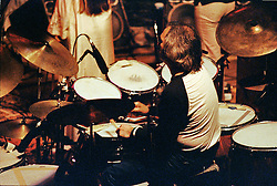 Grateful Dead Concert New Haven Coliseum 17 January 1979. Bill Kreutzmann from behind stage.
