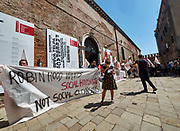 FREESPACE - 16th Venice Architecture Biennale. Demonstration against high prices for housing in Venice for Venetians.