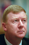 Saint Petersburg, Russia, June 2002..Anatoly Chubais, Director of Russian electricity supplier United Energy Systems, at the St Petersburg Economic Forum